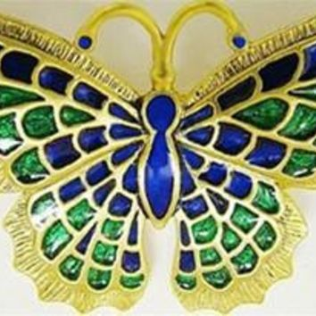 Butterfly Pin Brooch with Blue and Green Enamel 2.1W