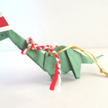 Origami Dinosaur Ornament, Brontosaurus with Santa Hat and Scarf, Green