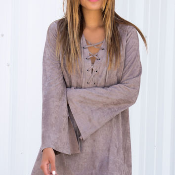 Lace Up Suede Mocha Dress