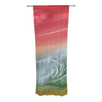 "Infinite Spray Art ""Can't Get Enough"" Pink Green Decorative Sheer Curtain"