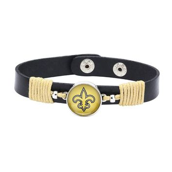 10pcs/lot! Adjustable Premium Leather Ginger Snaps Bracelet with a New Orleans Saints 18mm Snap  for Men,Women and Teens