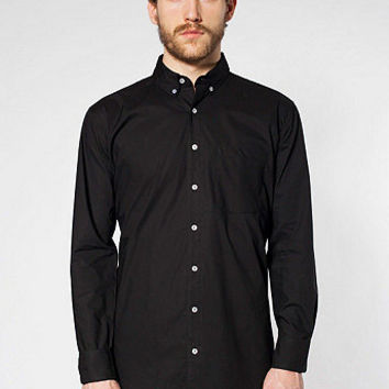 Poplin Long Sleeve Button-Down with Pocket