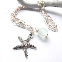 Sea Glass and Starfish Charm Anklet,  Sea Glass Summer Jewelry, Gift For Beach Lover
