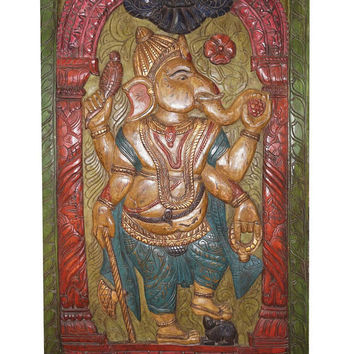 Antique hand carved Ganesha Vintage Panel Door Muladhara CHAKRA  Colorful Wall Decor Sculpture yoga eclectic design