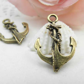 20pcs Antique Brass Anchor Charms Connector 17x26mm