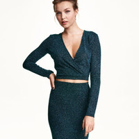 H&M Short Wrap-front Top $29.99