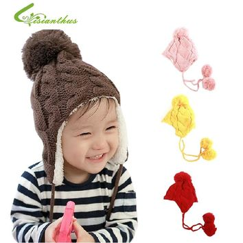 Baby Hat New Arrival Children Knitted Hats Winter Keep Warm Crochet Cap Cute Cat Girls Boys Beanie Free Shipping Drop Shipping