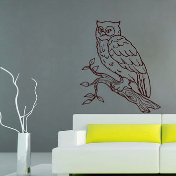 Wall Decals Owl Tree Branch Decal Vinyl Sticker Bathroom Shower Kitchen Window Baby Children Nursery Bedroom  Home Decor Art Murals MN156