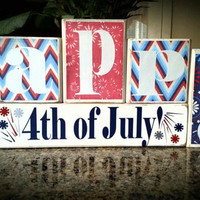 Fourth of July Holiday Custom Reversible Wooden Block Set - Choose from any of our other designs for your other side or msg us!