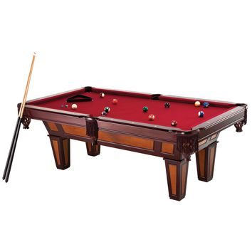 7 Ft Pool Table with Red Burgundy Wool Top and Fringe Drop Pockets