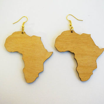 NEW!! Earrings wood: Roots Africa, shape of Africa, Lasercut birch plywood, gold colored hooks, topcoated