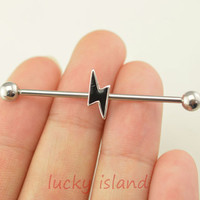 Industrial barbell,flash ear piercing,cross industrial barbell,friendship ear piercing,flash earring,bestfriend gift