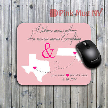 Personalized computer Mouse pad, gift idea, desk accessory - Long Distance Relationship