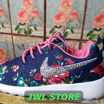 wmns custom nike roshe run shoes with fabric floral blue jeans color sneakers blinged