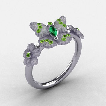 Natures Nouveau Platinum Emerald and Peridot Butterfly Wedding Ring, Engagement Ring NN116S-PLATPEM