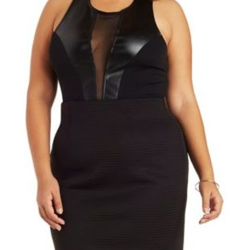 Plus Size Black Faux Leather & Mesh Bodysuit by Charlotte Russe