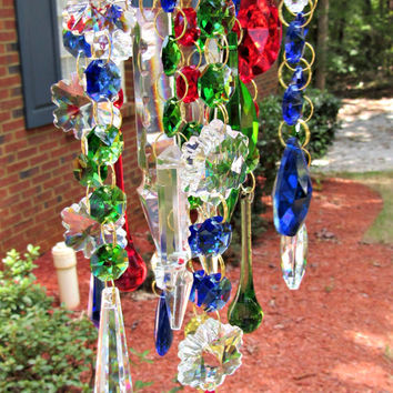 Crystal Wind Chime, Holiday Décor, Christmas Décor,  Glass Wind Chime, Christmas Ornament,  Christmas Wind Chime WC 133