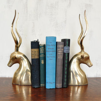 Brass Gazelle Bookends, Deer Bookends, Hollywood Regency Decor