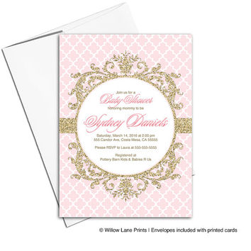 Pink and gold baby shower invitation girls | baby shower invite girls | printable or printed - WLP00792