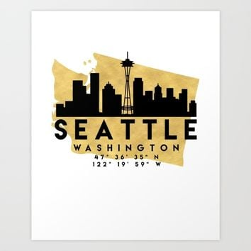 SEATTLE WASHINGTON SILHOUETTE SKYLINE MAP ART Art Print by deificus Art