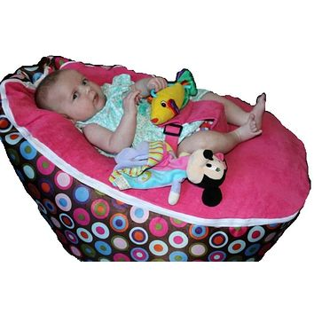 Babybooper Beanbag Soft Baby Cozy Baby Sitting Chair Nursery Pillow Safe. (Strawberry Bubble Gum)