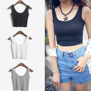 Crop Top 2015 New Fashion Women's Solid Color Skinny O-Neck Short Sport Dance Tight Tank Tops Colete Feminino = 5987777217