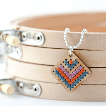 Modern Cross Stitch Jewelry Kit - Bamboo Diamond Pendant with Multicolor Chevron Pattern