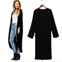 Open Front Long Sleeve Loose Asymmetric Hem Maxi Kimono