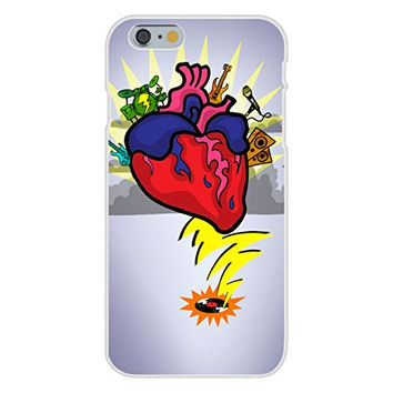 Apple iPhone 6 Custom Case White Plastic Snap On - 'Rock N Roll Heart' w/ Guitar & Drums Cartoon
