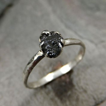 custom raw black diamond engagement ring rough diamond solitaire recycled sterling silver conflict free diamond wedding