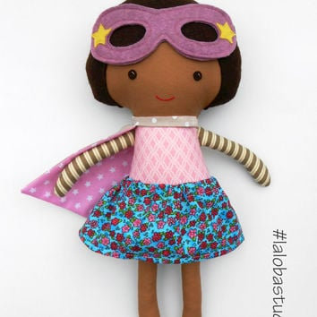Superhero girl doll with brown skin; african american ragdoll an ideal gift for kids, toddlers, for kwanzaa or birthday; can be customized