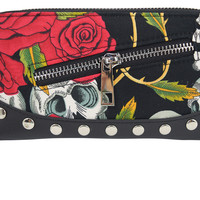 Rockabilly Goth Forever Love Skull & Red Roses Zip Around Wallet