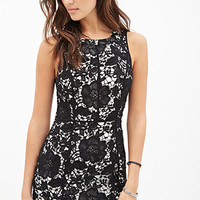 FOREVER 21 Floral Crochet Sheath Dress Black/Nude