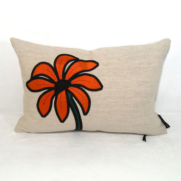 Orange Pillow Decorative Silk Cushion Modern Floral by Mazizmuse