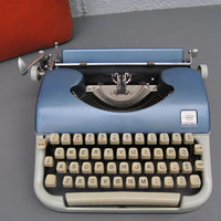 RARE Working Typewriter - 1960s AMC Portable Manual - Blue Teal Aqua - With Case and Brand New Ink Ribbon