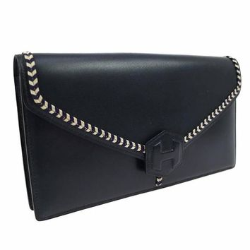Hermes Vintage Navy Boxcalf Leather Evening Clutch Purse