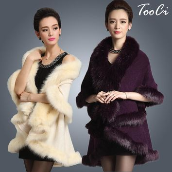 New Fashion Long Wool Cashmere Faux Fox Fur Coat Cardigan Women Poncho  Knitted Sweater Women Scarves