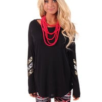 Black Knit Top with Sequin Elbow Detail