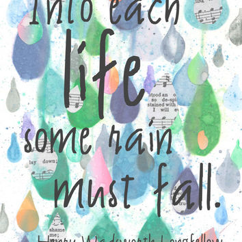 Rain Quote, Insperational Quote, Henry Wadsworth Longfellow Quote about Rain, Mixed Media Watercolor Print, 8x10, Blue, Grey, Poetry Quote