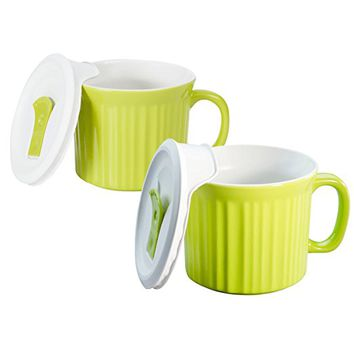Corningware 20-Ounce Oven Safe Meal Mug with Vented Lid, Sprout, Pack of 2