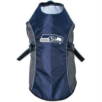 spbest Seattle Seahawks Water Resistant Reflective Pet Jacket