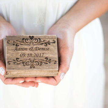 Wedding Ring Box Bearer Rustic Wedding Moss  Ring Holder Personalized Burlap Ring Bear Box Ring Holder Pillow Country wedding decor