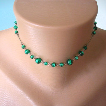 Art Deco Jewelry, Great Gatsby Jewelry, 1920 Necklace, Roaring 20s, Edwardian Choker, Art Deco Choker, Downton Abbey Jewelry, Emerald Choker