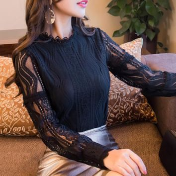 Women Lace Floral Office Lady Shirt Formal Tops Long Sleeve O-Neck Work Slim Blouse Plus Sized L-3XL ladies elegant work shirts