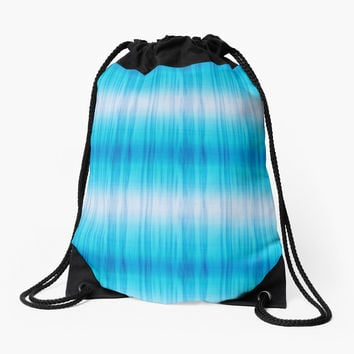 'Turquoise and White Tie Dye Stripe ' Drawstring Bag by pugmom4