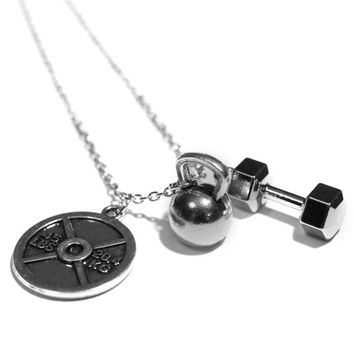 45lb Plate + Kettlebell + Dumbbell Charm Necklace - Weightlifting Exercise Crossfit Jewelry Fitness Charm Lifting Pendant Handmade Gift