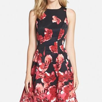 Women's Maggy London Floral Print Faille Fit & Flare Dress,