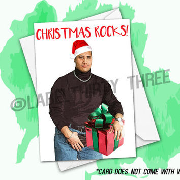 Christmas Rocks Funny Awesome The Rock Inspired Christmas Greeting Card- Xmas x-mas card joke funny the rock Wrestler actor Dwayne Johnson