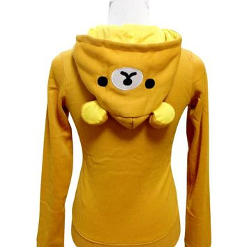 Japan Anime Rilakkuma Bear Women Sweatshirts Jacket Coat Sweater Hoodie Zip Top