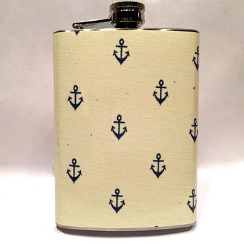 Vintage Nautical Anchor Wallpaper Steel 8oz Hip Flask Travel Sail Boat Ocean